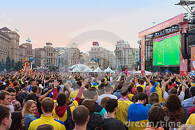 Ukrainian, Swedish and English fans in the fanzone Editorial Image