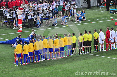 Ukrainian team listens to the national anthem Editorial Photo