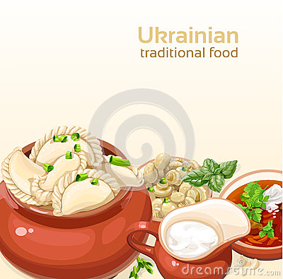 Ukrainian traditional food background