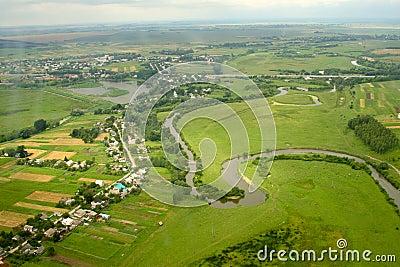 Ukrainian village - aerial view.