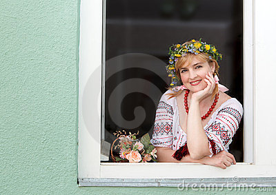 Ukrainian woman in the window
