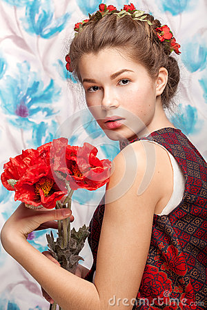 Free Ukrainian Woman With Poppy Stock Photography - 70486872