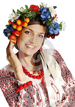 Ukrainian woman in a wreath