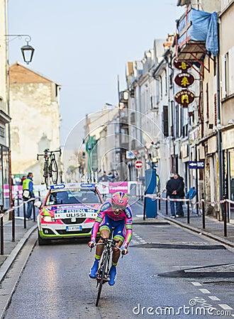 Ο πρόλογος Ulissi Diego Παρίσι Νίκαια 2013 ποδηλατών Εκδοτική εικόνα