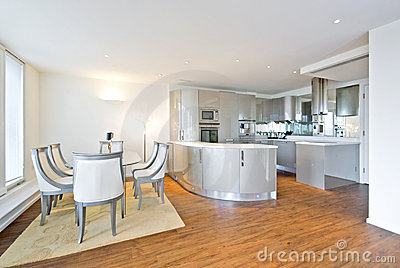 Ultra modern designer kitchen with dining area