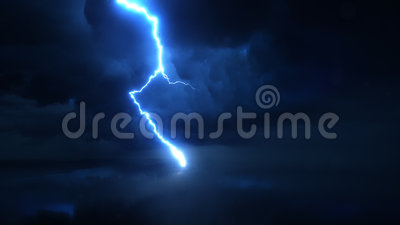 Ultra super slow motion lightning discharge, high speed camera shot. Thunderstorm with high quality lightning discharge in super slow motion against dark stormy