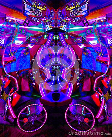 Free Ultraviolet Arcade Game In Psychedelic Light Stock Photo - 111891160