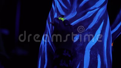Ultraviolet Black Light Glowing Bodyart Processing On Womans Navel Blue Painted Stripes At Cold Blue Uv Blacklight