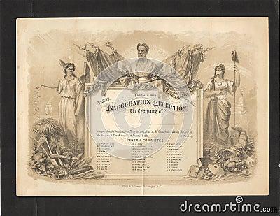 Ulysses S. Grant 1869 Inauguration Invitation Editorial Stock Image