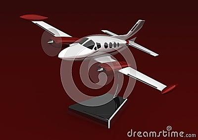 Um avião modelo em um carrinho