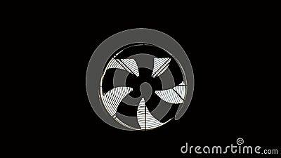 Um capô com ventilador está instalado em uma sala escura As lâminas estão girando filme