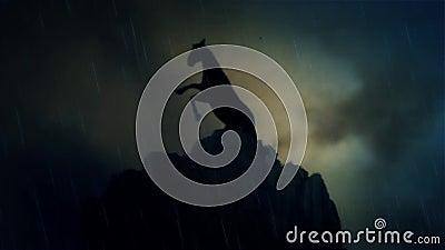 Um cavalo épico do garanhão que está em Cliff Under uma tempestade do relâmpago no movimento lento vídeos de arquivo