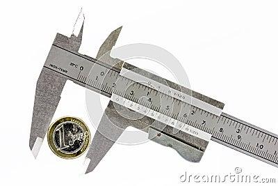 Um euro em um calibrador