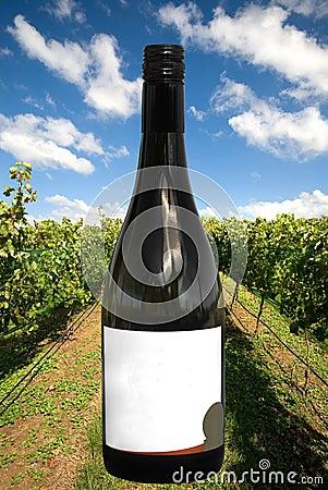 Um frasco de vinho com uma cena do vinhedo