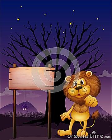 Um leão e o quadro indicador de madeira em uma vizinhança escura