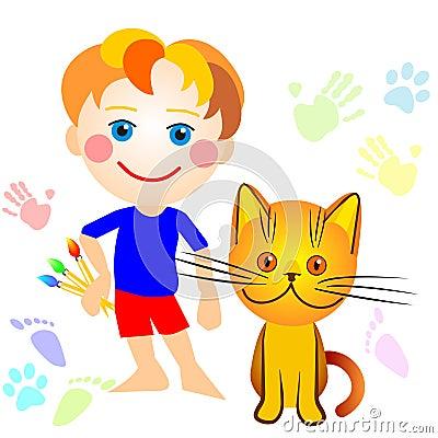 Um menino e um desenho do gato