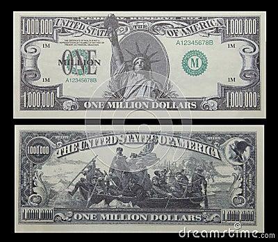 Um milhão de dinheiros da conta de dólar
