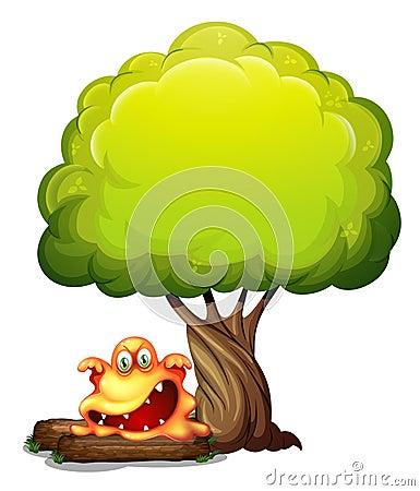 Um monstro alaranjado assustador sob a árvore