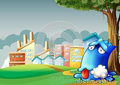 Um monstro azul envenenado que descansa sob a árvore através do buildi