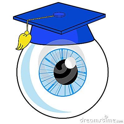 Um olho humano está em um chapéu da universidade