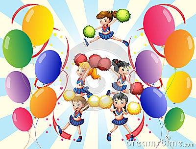 Um pelotão cheering no meio dos balões