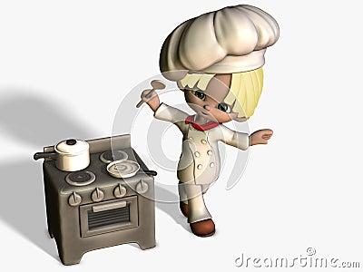 Um pouco cozinheiro bonito