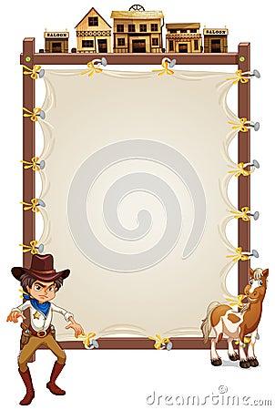 Um vaqueiro e um cavalo na frente de um signage vazio