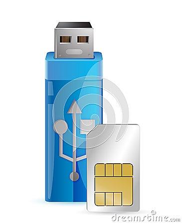 Uma chave do Internet com um cartão do sim