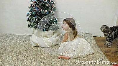 Uma garotinha brinca perto de uma árvore de Natal em um quarto infantil com um gato Bebê e árvore de Natal Feriados de Natal vídeos de arquivo