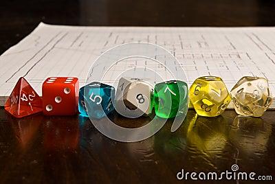 Dados e mapa do estilo do jogo do papel