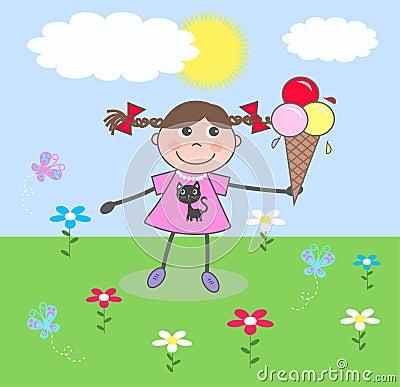 Uma menina feliz com um gelado