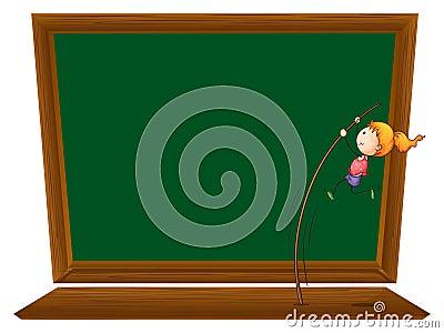 Uma menina que executa um salto com vara na frente de uma placa vazia