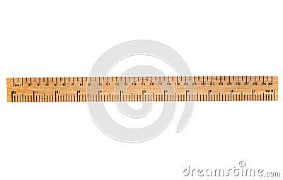 Uma régua de madeira de 30 cm.