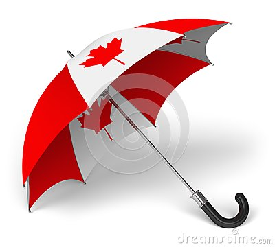 Umbrella with Canadian national flag