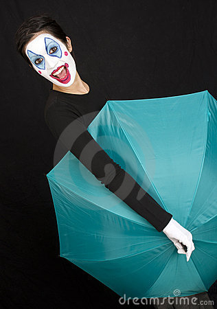 Teal Umbrella Shows Fun Circus Clown Style