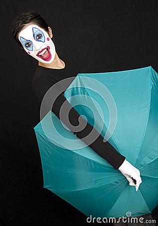 Teal Umbrella Shows Fun Circus Clown Style
