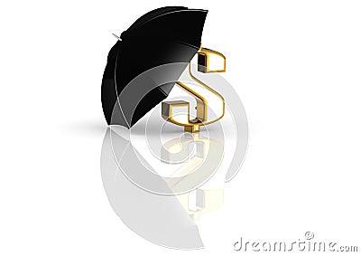 Umbrella and Dollar Sign