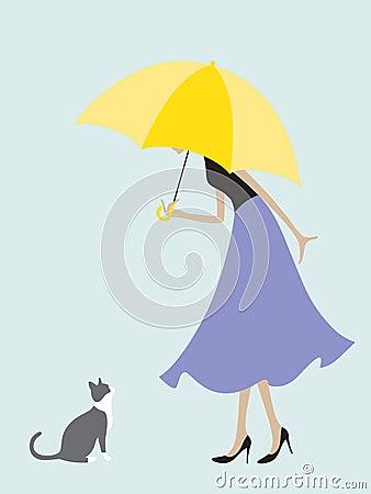 Umbrella Girl Meets a Cat