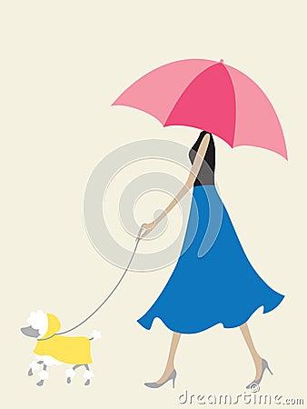 Umbrella Girl Walking the Dog
