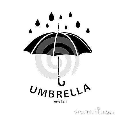 Umbrella icon, vector logo. Black umbrella silhouette Vector Illustration