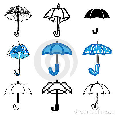 Umbrella icons set