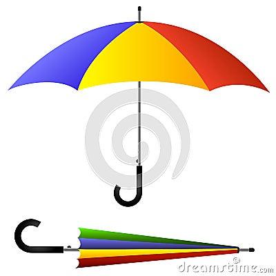 Umbrella, open and closed