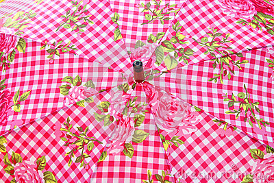 Umbrella parasol gingham pattern