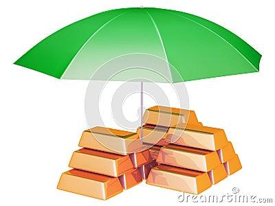 Umbrella protects gold bars