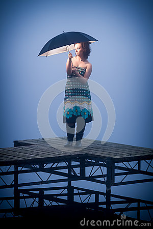 Umbrella protects woman