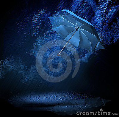 Umbrella in rain