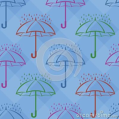 Umbrella and rain, background