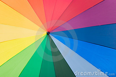 Umbrella with rainbow colors