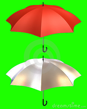 Umbrella red and shiny silver