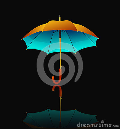 Umbrella with reflection on black background